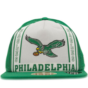 The front of the throwback Philadelphia Eagles trucker hat features the Philadelphia Eagles logo along with the words Philadelphia Eagles
