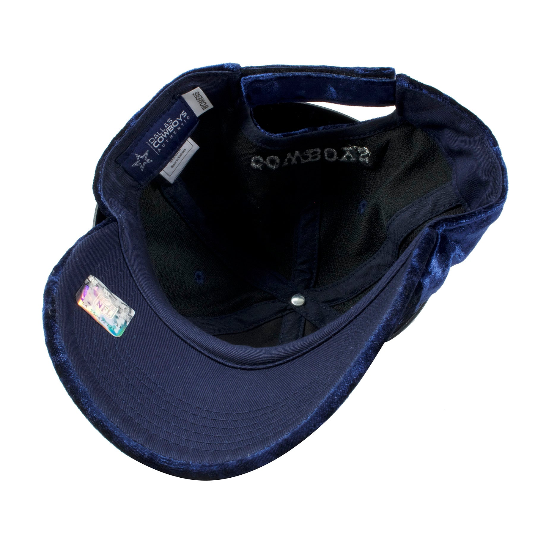 ... where to buy the under brim of the dallas cowboys womens velour ball cap  is navy ... ed70f56cd0d3