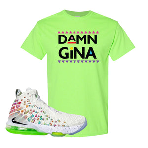 Lebron 17 Air Command Force T Shirt | Neon Green, Damn Gina