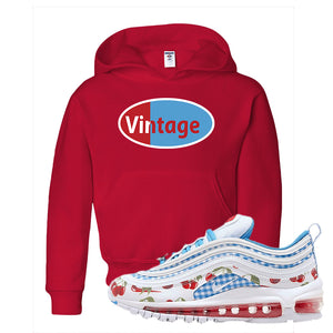 Air Max 97 GS SE Cherry Kids Pullover Hoodie | Vintage Oval, Red