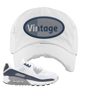 Air Max 90 White / Particle Grey / Obsidian Distressed Dad Hat | White, Vintage Oval