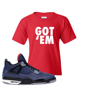 Jordan 4 WNTR Loyal Blue Got Em Red Sneaker Hook Up Kid's T-Shirt