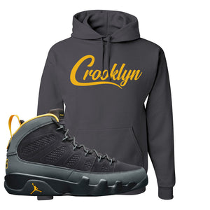 Air Jordan 9 Charcoal University Gold Hoodie | Crooklyn, Smoke Grey