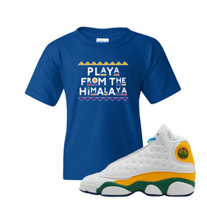 Playa From the Himalaya Royal Blue Kid's T-Shirt to match Air Jordan 13 GS Playground Kids Sneaker