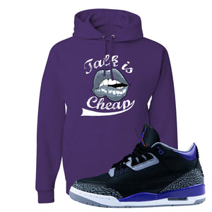 Air Jordan 3 Court Purple Hoodie | Talk Is Cheap, Deep Purple