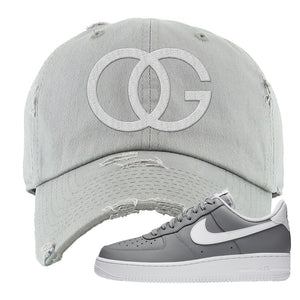 Air Force 1 Low Wolf Grey White Distressed Dad Hat | Light Gray, OG