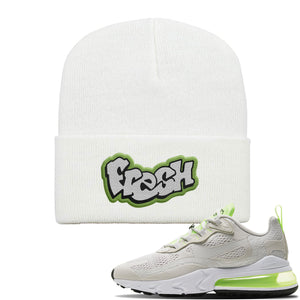 Air Max 270 React Ghost Green Sneaker White Dad Hat | Hat to match Nike Air Max 270 React Ghost Green Shoes | Fresh