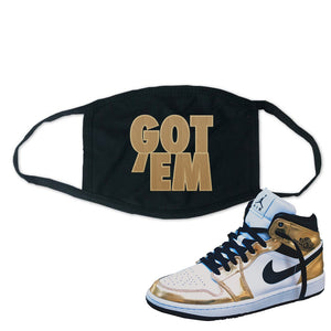 Air Jordan 1 Mid SE Metallic Gold Face Mask | Got Em, Black