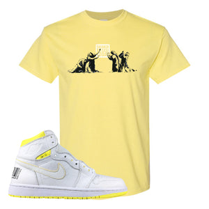 Air Jordan 1 First Class Flight Sneaker Release Today Yellow Sneaker Matching T-Shirt