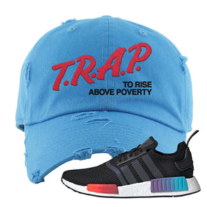 NMD R1 Gradient Distressed Dad Hat | Light Blue, Trap To Rise Above Poverty