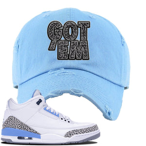 Jordan 3 UNC Sneaker Sky Blue Distressed Dad Hat | Hat to match Nike Air Jordan 3 UNC Shoes | Got Em