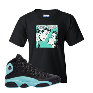 Fake Love White Kid's T-Shirt To Match Jordan 13 Island Green Sneakers