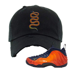 Foamposite One OKC Distressed Dad Hat | Black, Coiled Snake