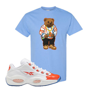 Question Low Vivid Orange T-Shirt | Sweater Bear, Carolina Blue