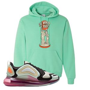 Air Max 720 WMNS Black Fossil Sneaker Cool Mint Pullover Hoodie | Hoodie to match Nike Air Max 720 WMNS Black Fossil Shoes | The World Is Yours Statue