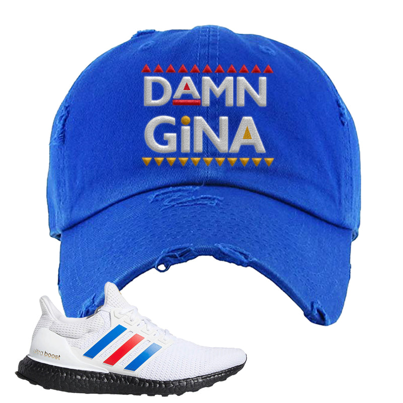 Ultra Boost White Red Blue Distressed Dad Hat | Royal Blue, Damn Gina