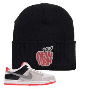 Nike SB Dunk Low Infrared Orange Label New York Apple Black Beanie To Match Sneakers