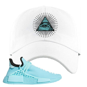 Pharell x NMD Hu Aqua Dad Hat | All Seeing Eye, White