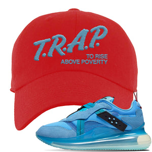 Air Max 720 OBJ Slip Light Blue Dad Hat | Red, Trap To Rise Above Poverty