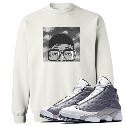 Jordan 13 Atmosphere Grey Spike Hat and Glasses White Crewneck