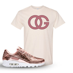 Air Max 90 WMNS 'Medal Pack' Rose Gold Sneaker Natural T Shirt | Tees to match Nike Air Max 90 WMNS 'Medal Pack' Rose Gold Shoes | OG