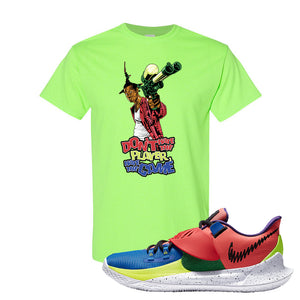 Kyrie Low 3 NY vs NY T Shirt | Don't Hate The Playa, Neon Green
