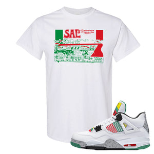 Jordan 4 WMNS Carnival Sneaker White T Shirt | Tees to match Do The Right Thing 4s Shoes | Sal's Pizza Box