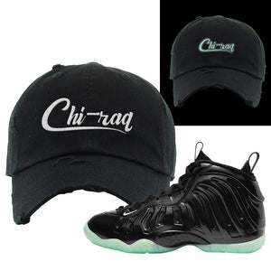 Foamposite One 2021 All Star Distressed Dad Hat | Chiraq, Black