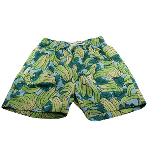 The printed banana cloud swim shorts feature a printed banana assortment with a light-blue cloud background