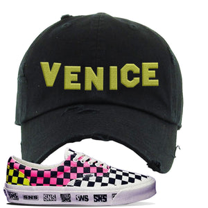 Vans Era Venice Beach Pack Distressed Dad Hat | Black, Venice Sign