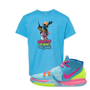 Kyrie 6 Pool Kids T-Shirt | Dont Hate the Player, Heather Sapphire