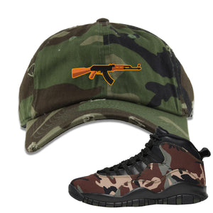 Jordan 10 Woodland Camo Sneaker Hook Up AK47 Camouflage Distressed Dad Hat