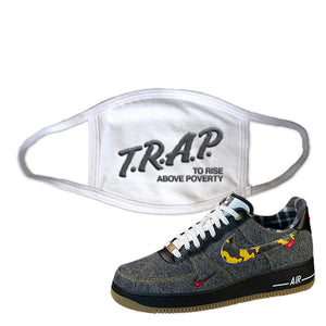 Air Force 1 Low Plaid And Camo Remix Pack Face Mask | Trap To Rise Above Poverty, White