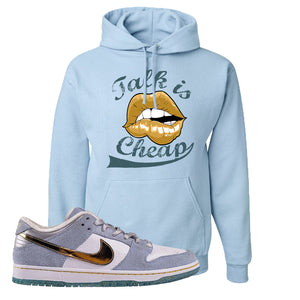 Sean Cliver x SB Dunk Low Hoodie | Talk Is Cheap, Light Blue