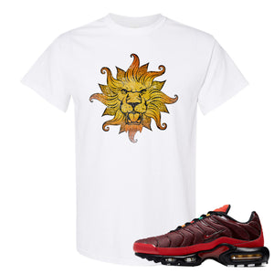 printed on the front of the air max plus sunburst sneaker matching white t shirt