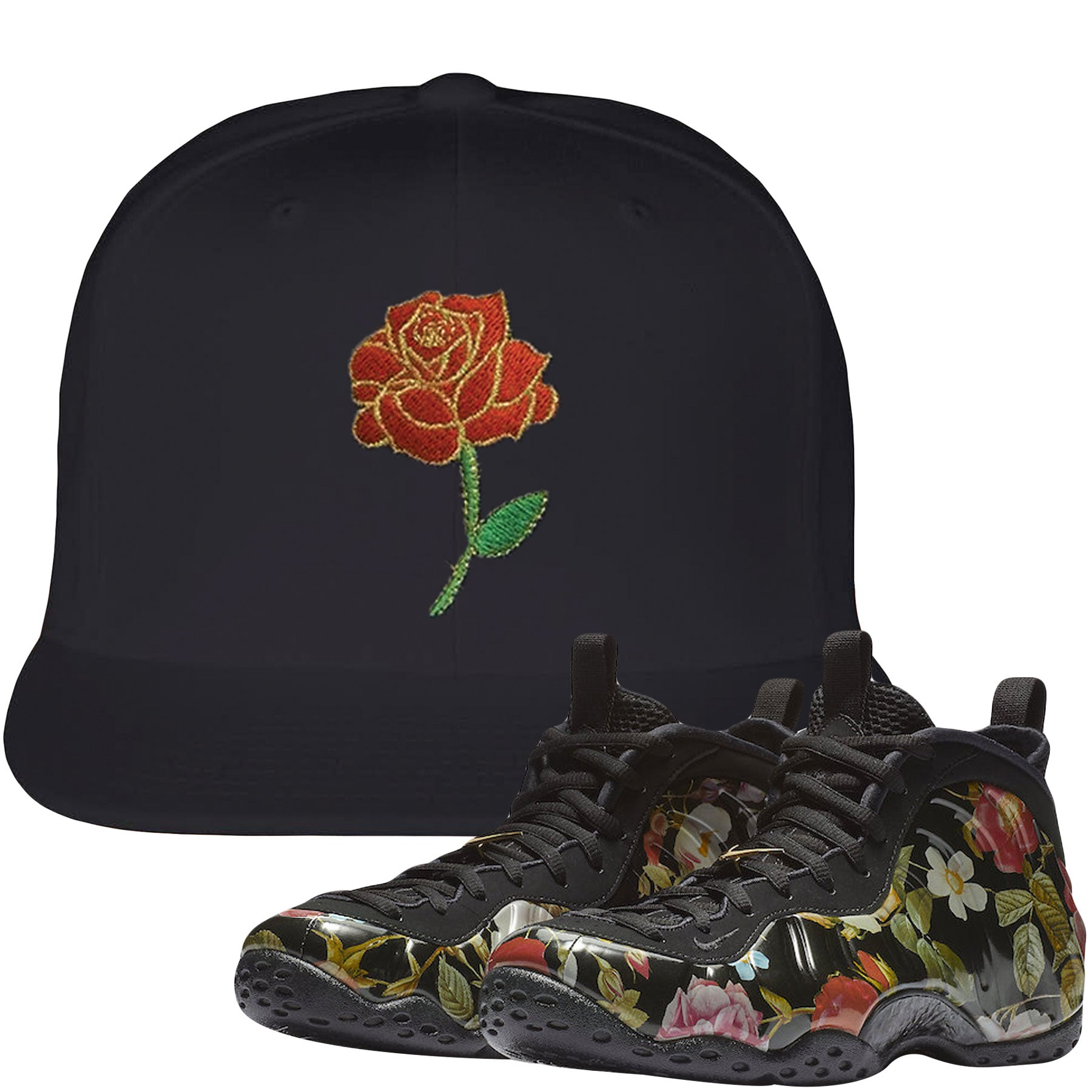 4e40af60abb Wear this sneaker matching hat to match your Air Foamposite One Floral  sneakers. Match your