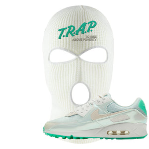 Air Max 90 Sail Pastel Green Ski Mask | Trap To Rise Above Poverty, White