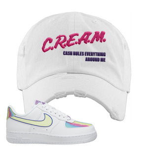 Air Force 1 Low Easter Distressed Dad Hat | White, Cash Rules