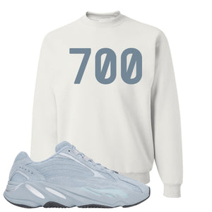 Yeezy Boost 700 V2 Hospital Blue 700 Sneaker Matching White Crewneck Sweatshirt