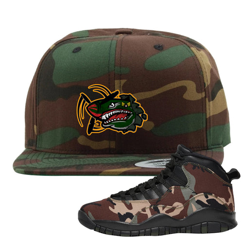 Jordan 10 Woodland Camo Sneaker Matching Air Plane Camouflage Snapback Hat