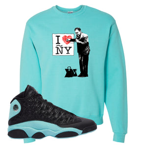 I Heart ÑY Doctor Scuba Blue Crewneck Sweatshirt To Match Jordan 13 Island Green Sneakers