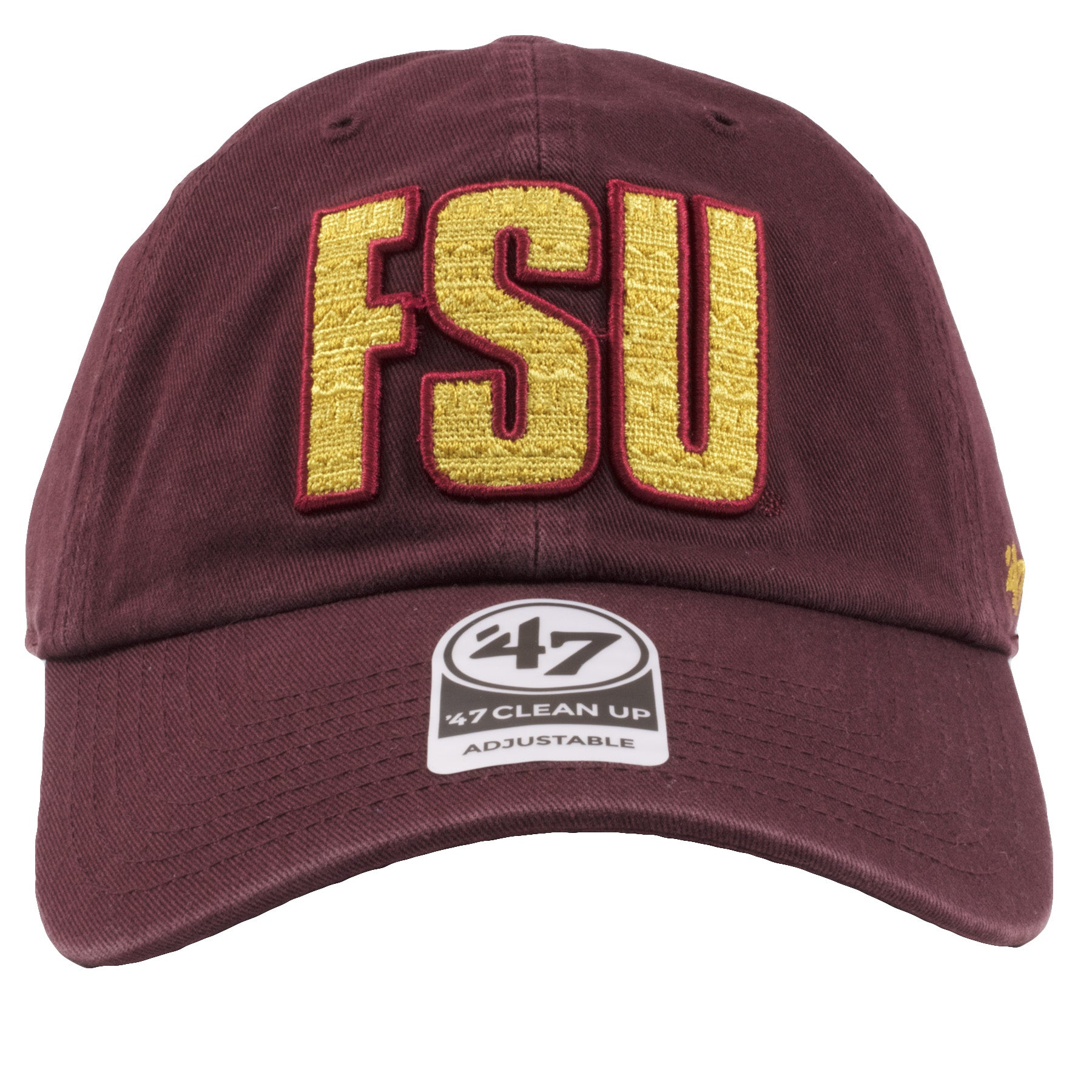 9f236d91635c7 embroidered on the front of the Florida State University dad hat is the FSU  logo in