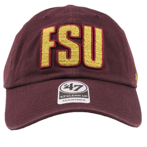 embroidered on the front of the Florida State University dad hat is the FSU logo in gold and burgundy
