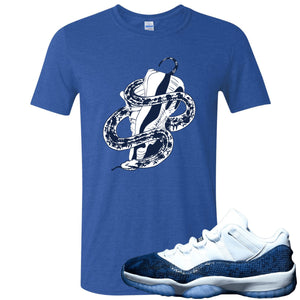 Jordan 11 Low Blue Snakeskin Snake Around Shoes Heather Royal Blue T-Shirt