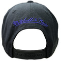 Embroidered on the back of the Sacremento Kings XL logo snapback hat is the Mitchell and Ness logo embroidered in purple