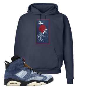 Jordan 6 Washed Denim Hoodie | Navy Blue, Crane Sun