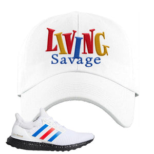 Ultra Boost White Red Blue Dad Hat | White, Living Savage