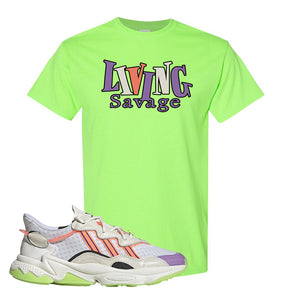 Ozweego Chaos T Shirt | Neon Green, Living Savage