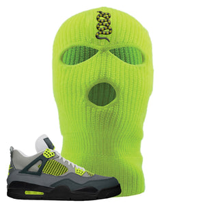 Jordan 4 Neon Sneaker Safety Yellow Distressed Dad Hat | Hat to match Nike Air Jordan 4 Neon Shoes | Coiled Snake