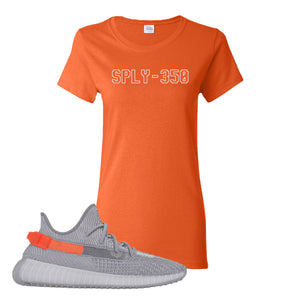 Yeezy Boost 350 V2 Tail Light Sneaker Orange Women's T Shirt | Women's Tees to match Adidas Yeezy Boost 350 V2 Tail Light Shoes | Sply-350